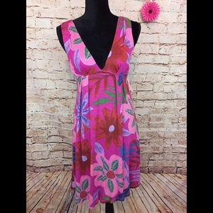 Lani Summer Dress Floral Open Back Beach Coverup S